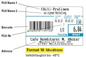 Beispiel für den Etikettendruck bei Format 10 Etiketten