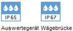 Schutzklasse IP65 und IP65 gegen Staub und Spitzwaasser - KERN Bodenwaage