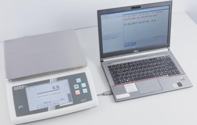 Abbildung der Datenübertragung zwischen Waage und Laptop