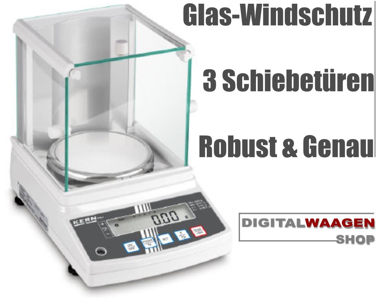 Digitalwaage Wägebereich 1 Milligramm als Laborwaage mit Windschutz