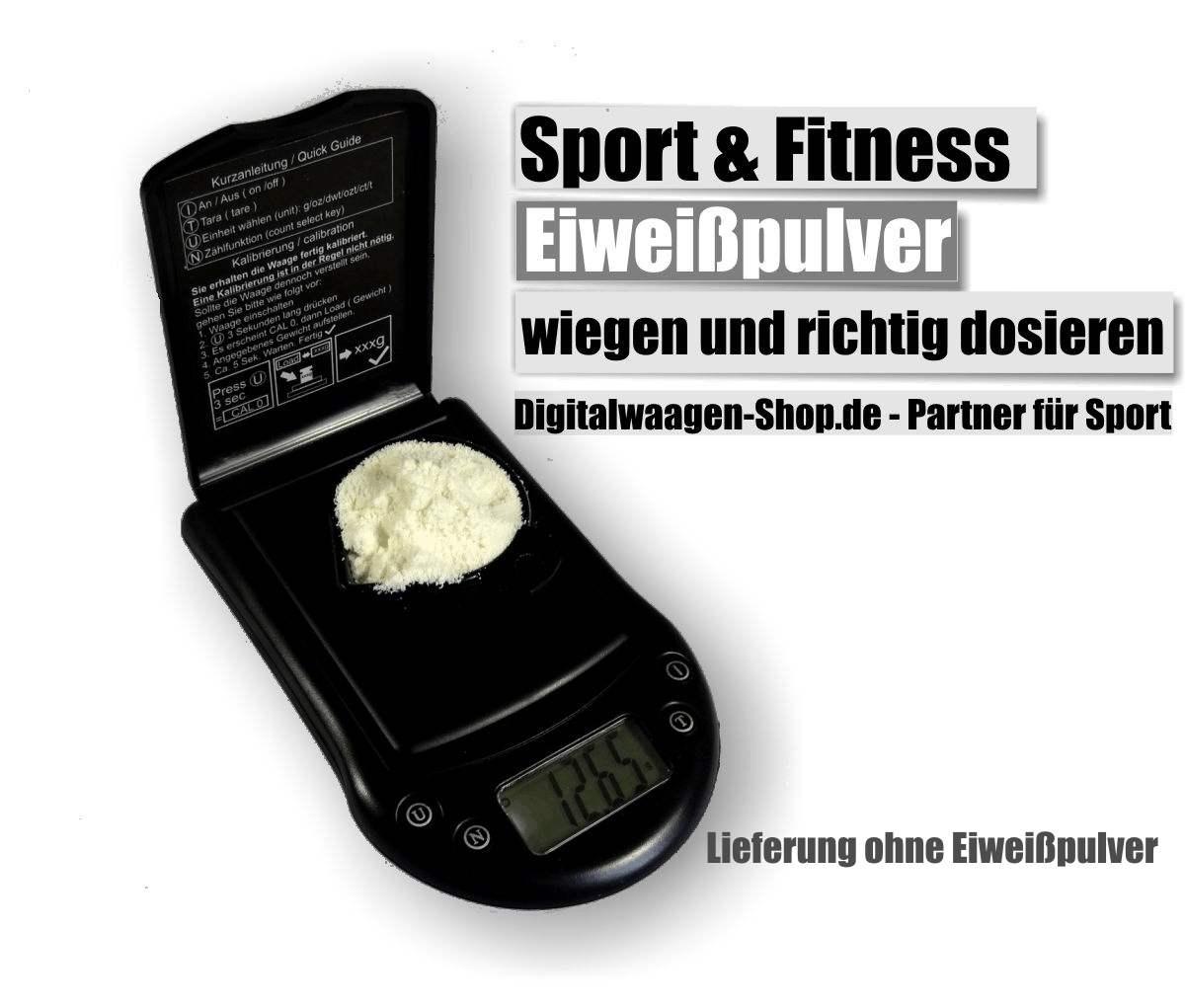 Eiweißpulver für Training oder Diät genau abwiegen mit der Feinwaage