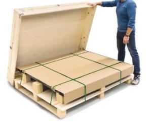 KERN Bodenwaagen werden zum Schutz der Technik in Holzboxen versendet