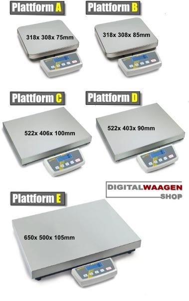 Übersichtstabelle der KERN DE Waagen - alle Plattformgrössen