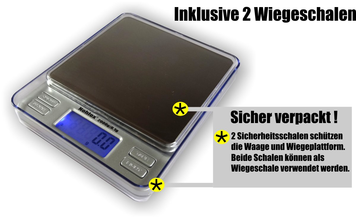 Flache Profi- Küchenwaage 2 Kilogramm Ablesbarkeit 0.1g
