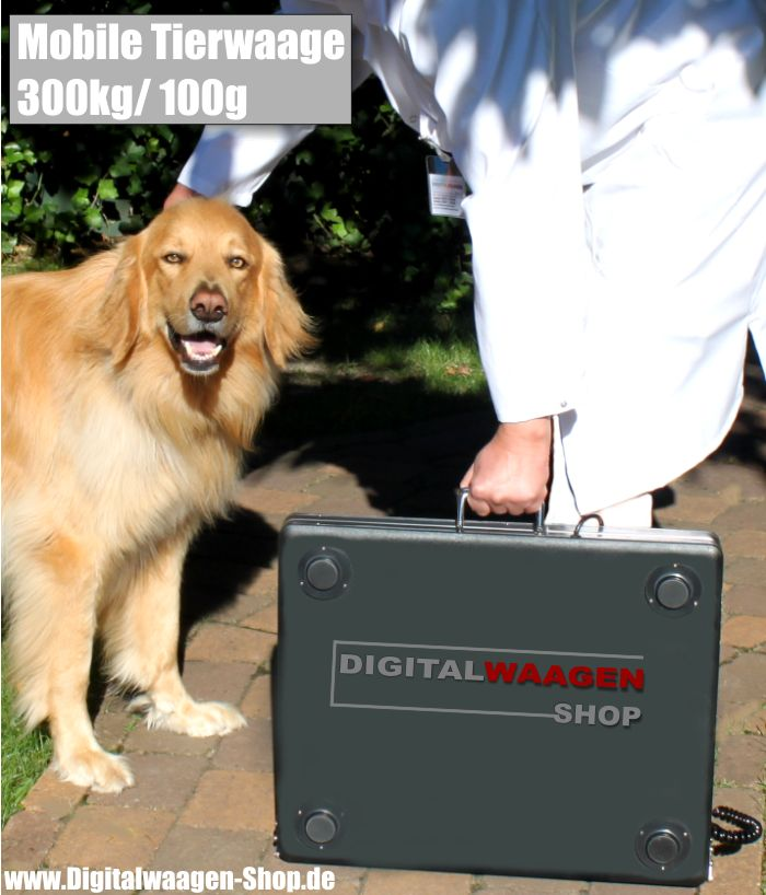 Mobile Tierwaage aus Edelstahl bis 300 Kilogramm klappbar