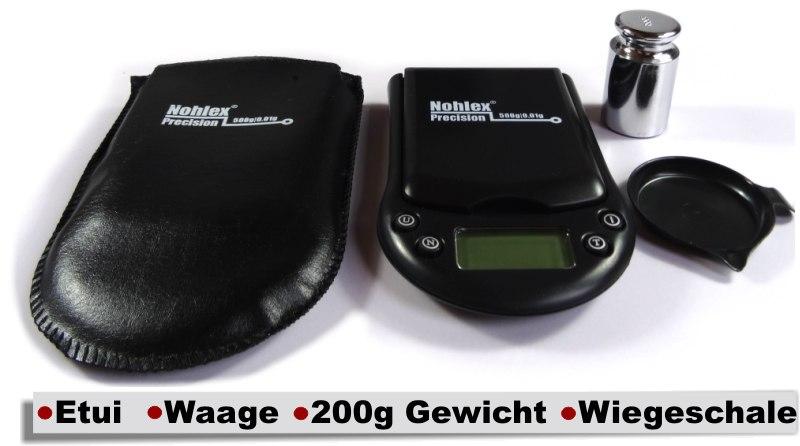 Nohlex Digitalwaage mit 200g Gewicht Etui und Wiegeschale