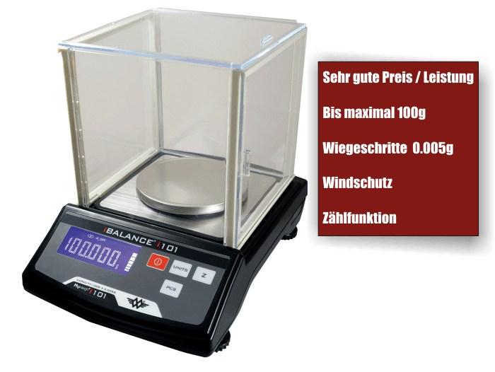 Präzisionwaage bis 100 Gramm Teilung 0,005 Gramm