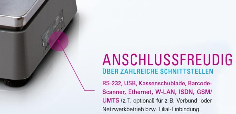RS232 - USB und Kassenschubladen Anschluss sowie Barcode Scanner