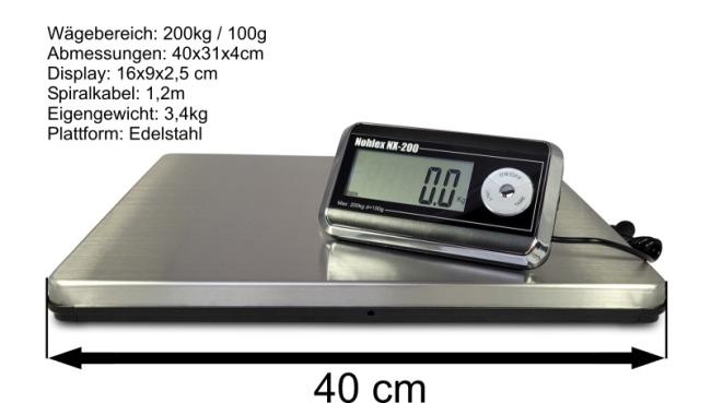 Nohlex Waage mit technischen Details und Abmessungen
