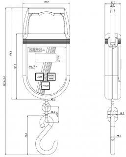 Zeichnung mit Abmessungen der Hängewaage