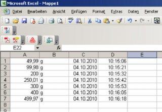 Beispiel 2 Tabelle Kern Waagen Software