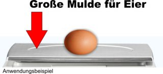 Detailansicht zeigt Mulde in der Plattform für Eier